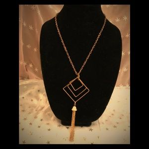 Vintage goldtone geometric tassel necklace